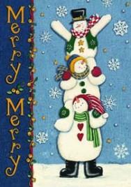 0142FM - Merry  Merry Snowman Garden Flag