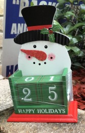 Wood Snowman Happy Holidays Christmas Countdown Blocks