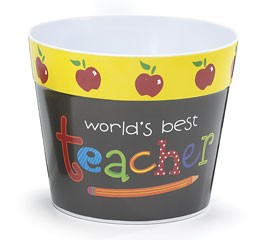 0485304 World's Best Teacher Plastic Pot Cover