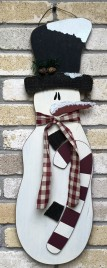 Snowman with Top Hat, Candy Cane and Scarf