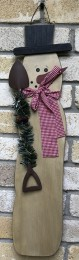 Snowman Decoration with Metal Shovel, greenery and Scarf