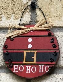 Ho Ho Ho Santa Ball Wood Ornament