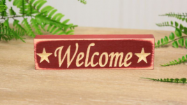 Primitive Engraved Wood  Block 10060 Welcome