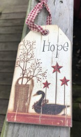 107-53012 Hope with Berries,stars,duck wood tag