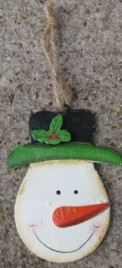 107031SH - Snowman w/Holly Top Hat Metal Ornament
