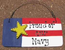 10977N - Proud of our Navy wood sign