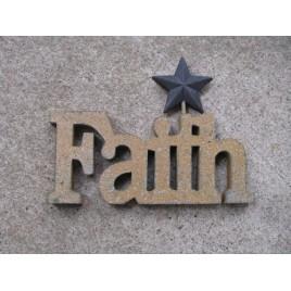 10979CBR - Faith wood Cutout with black metal star