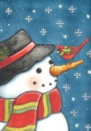 119279-Cardinal Snowman Garden Flag