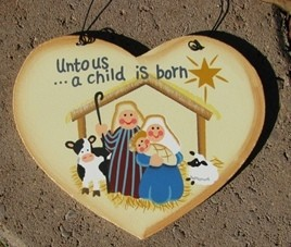 1331 - Unto us a Child is Born Wood Christmas Ornament