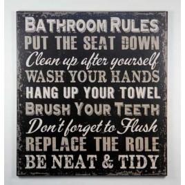 1423BRB - Bathroom Rules Black Wood Sign