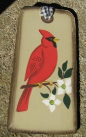 1451 - Red Cardinal Wood Tag