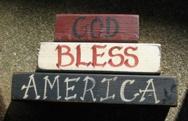 161GBA - God Bless America wood Block