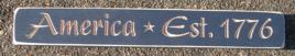Primitive Engraved Wood Block  America Est 1776