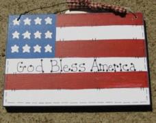Patriotic Wood Sign 190F-God Bless America Flag