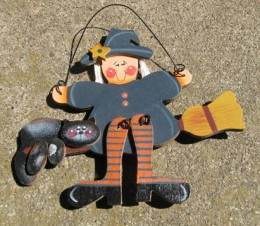 Primitive Fall Decor 195 - Witch on Broom