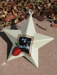 Metal Teacher Christmas Ornament OR205 - #1 Teacher