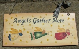 Angels Gather Here Wood Sign 2016