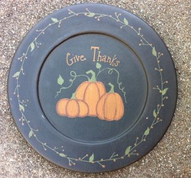 Give Thanks Primitive Wood Plate 202-122