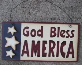 Patriotic Decor 2002A-God Bless America Wood Sign