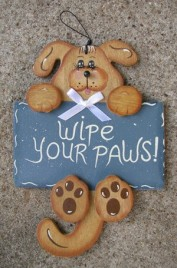 Wood Dog Sign 2033 Wipe Your Paws Dog Hand Painted