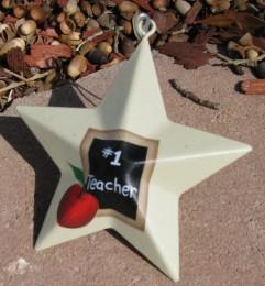 OR205 - #1 Teacher Metal Christmas Ornament