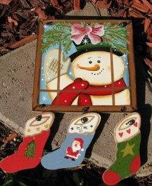 2064 - snowman window pane  wood sign