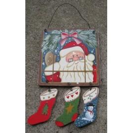 2065 - Santa in Window Pane with 3 stockings