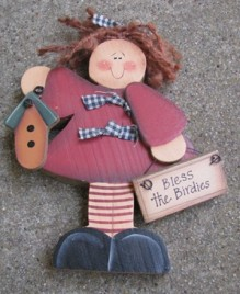 2116BB-Bless the Birdies wood free standing doll