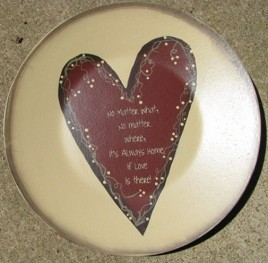 Primitive Wood Plate 2473N - No matter What...Home Plate