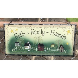 2476FFF Faith Family Friends Wood Sign