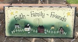 2476FFF Faith Family Friends Wood Sign