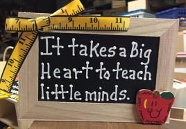 Teacher Gift 2722DC It takes a Big Heart to teach little minds Wood Supply Box