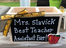 Teacher Gifts  2756ER  (Teachers Asst. Name) Best Teacher Assistant Ever! Supply Wood Box