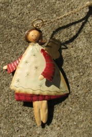 2758C - Cream Tin Angel Christmas Ornament