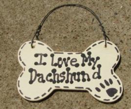 Wood Dog Bone  I Love My Dachshund or We Love Our Dachshund