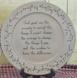 Primitive Wood Plate 30910S-Serenity Prayer Plate