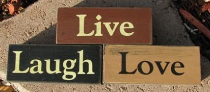 Primitive Wood Blocks 0943LLL-Love Live Laugh set of 3
