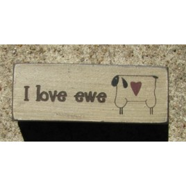 31392U - I Love Ewe wood block