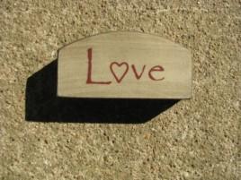 31469LW - Mini Love Arched wood Block Cream