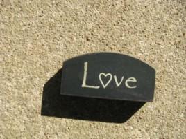 31469LB - Mini Love Arched wood Block Black