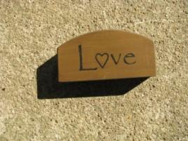 31469MG - Mini Love Arched wood Block Mustard Gold