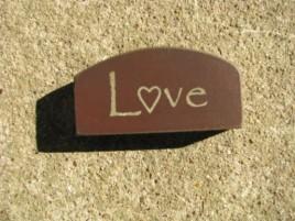 31469BR - Mini Love Arched wood Block Burgundy