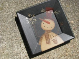 Primitive Wood Snowman Plate 31485ID- Have an Ice Day