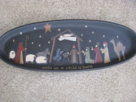 31513-Nativity Tray Unto Us a Child is Born Oval Wood Plate