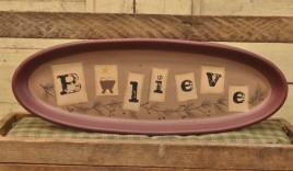 Primitive Wood Plate 32107-Believe Oval Plate