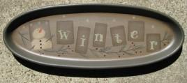 Wood Oval Plate 32180W - Snowman Winter