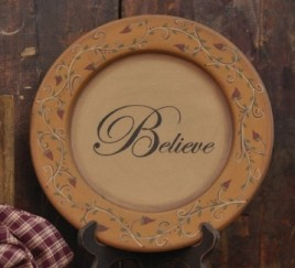 Primitive Wood Plate 32157- Believe Vine
