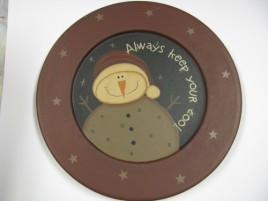 Snowman Wood Plate 32181A - Always Keep your Cool