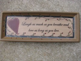 Primitive Wood Plate 32189 - Love & Laughter