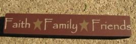 32328FM - Faith Family Friends wood block
